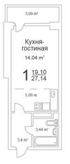 ЖК «Истомкино Парк», планировка студии, 27.14 м²