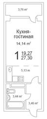 ЖК «Истомкино Парк», планировка студии, 27.30 м²