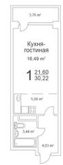 ЖК «Истомкино Парк», планировка студии, 30.22 м²