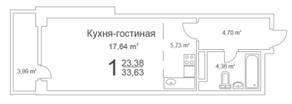 ЖК «Истомкино Парк», планировка студии, 33.63 м²