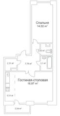 ЖК «Истомкино Парк», планировка 1-комнатной квартиры, 54.78 м²