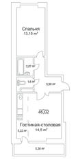 ЖК «Истомкино Парк», планировка 1-комнатной квартиры, 46.02 м²