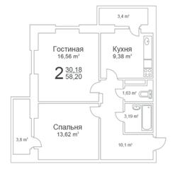 ЖК «Истомкино Парк», планировка 2-комнатной квартиры, 58.20 м²