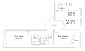 ЖК «Истомкино Парк», планировка 2-комнатной квартиры, 63.18 м²