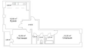 ЖК «Истомкино Парк», планировка 2-комнатной квартиры, 61.76 м²