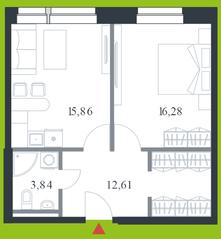 МФК «Citimix», планировка 1-комнатной квартиры, 48.60 м²