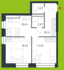 МФК «Citimix», планировка 2-комнатной квартиры, 54.10 м²