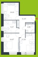 МФК «Citimix», планировка 3-комнатной квартиры, 71.80 м²