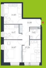 МФК «Citimix», планировка 3-комнатной квартиры, 72.30 м²