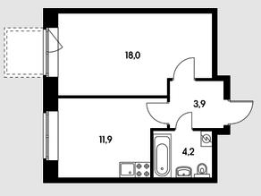 ЖК «Черняховского 19», планировка 1-комнатной квартиры, 39.85 м²