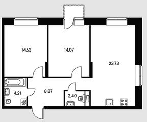 ЖК «Черняховского 19», планировка 2-комнатной квартиры, 67.91 м²