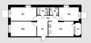 ЖК «Черняховского 19», планировка 3-комнатной квартиры, 101.10 м²
