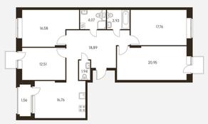 ЖК «Черняховского 19», планировка 4-комнатной квартиры, 114.81 м²