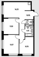 ЖК «Влюблино», планировка 3-комнатной квартиры, 68.80 м²