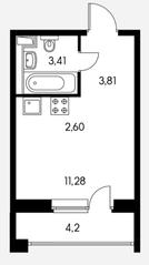 ЖК «Ильинские луга», планировка студии, 23.25 м²