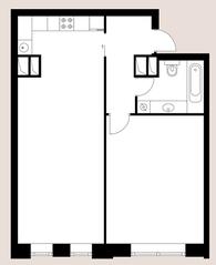 ЖК «Vander Park», планировка 1-комнатной квартиры, 47.44 м²