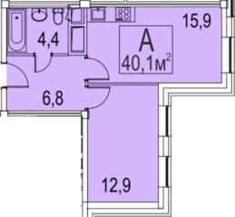 МФК «Золоторожский», планировка 1-комнатной квартиры, 40.10 м²
