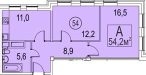 МФК «Золоторожский», планировка 2-комнатной квартиры, 54.20 м²