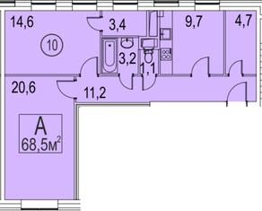 МФК «Золоторожский», планировка 2-комнатной квартиры, 68.50 м²