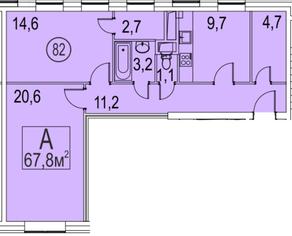 МФК «Золоторожский», планировка 2-комнатной квартиры, 67.80 м²