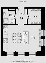 МФК Клубный дом «Октябрь», планировка студии, 33.10 м²