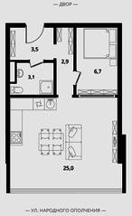 МФК Клубный дом «Октябрь», планировка студии, 41.20 м²