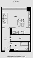 МФК Клубный дом «Октябрь», планировка студии, 44.00 м²