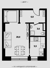 МФК Клубный дом «Октябрь», планировка 1-комнатной квартиры, 35.10 м²