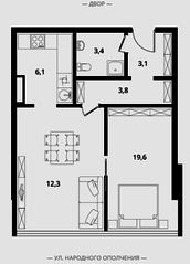МФК Клубный дом «Октябрь», планировка 1-комнатной квартиры, 48.30 м²