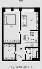 МФК Клубный дом «Октябрь», планировка 2-комнатной квартиры, 45.80 м²