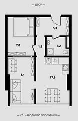 МФК Клубный дом «Октябрь», планировка 2-комнатной квартиры, 43.00 м²