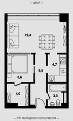 МФК Клубный дом «Октябрь», планировка 2-комнатной квартиры, 43.50 м²