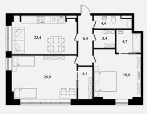 МФК Клубный дом «Октябрь», планировка 2-комнатной квартиры, 92.20 м²
