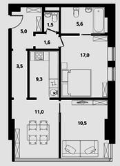 МФК Клубный дом «Октябрь», планировка 2-комнатной квартиры, 65.00 м²