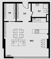 МФК Клубный дом «Октябрь», планировка студии, 49.90 м²