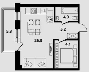 МФК Клубный дом «Октябрь», планировка 1-комнатной квартиры, 43.70 м²