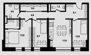 МФК Клубный дом «Октябрь», планировка 3-комнатной квартиры, 73.80 м²