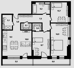 МФК Клубный дом «Октябрь», планировка 3-комнатной квартиры, 88.50 м²