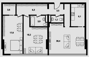 МФК Клубный дом «Октябрь», планировка 3-комнатной квартиры, 90.20 м²