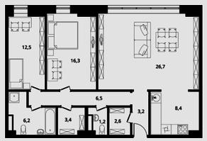 МФК Клубный дом «Октябрь», планировка 3-комнатной квартиры, 97.00 м²