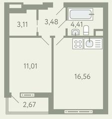 ЖК «Южное Видное», планировка 1-комнатной квартиры, 39.90 м²