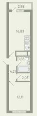 ЖК «Южное Видное», планировка 1-комнатной квартиры, 40.53 м²