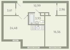 ЖК «Южное Видное», планировка 1-комнатной квартиры, 62.52 м²