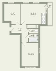 ЖК «Южное Видное», планировка 2-комнатной квартиры, 53.77 м²