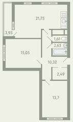 ЖК «Южное Видное», планировка 2-комнатной квартиры, 69.51 м²
