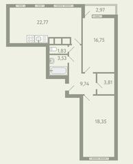 ЖК «Южное Видное», планировка 2-комнатной квартиры, 78.27 м²