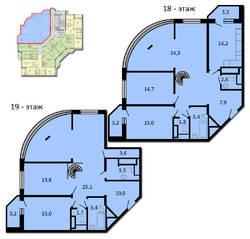 ЖК «Губернатор», планировка 5-комнатной квартиры, 188.30 м²