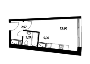 ЖК «Парад планет», планировка студии, 25.01 м²