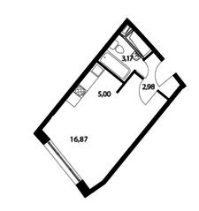 ЖК «Парад планет», планировка студии, 28.02 м²