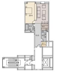 ЖК «Savvin River Residence», планировка 2-комнатной квартиры, 71.40 м²